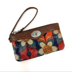 Fossil Key Per Floral Coated Canvas Wristlet